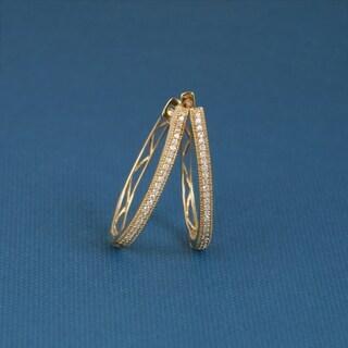 De Couer 10k Yellow Gold 1/6ct TDW Diamond Hoop Earring