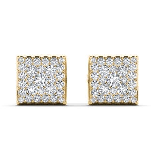 De Couer 10k Yellow Gold 1/2ct TDW Diamond Square Cluster Earring