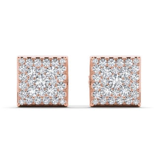 De Couer 10k Rose Gold 1/2ct TDW Diamond Square Cluster Earring - Pink