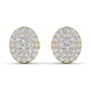 De Couer 10k Yellow Gold 1/10ct TDW Diamond Cluster Earring