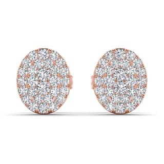 De Couer 10k Rose Gold 1/10ct TDW Diamond Cluster Earring (H-I, I2)