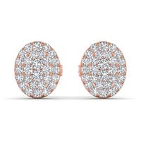 De Couer 10k Rose Gold 1/10ct TDW Diamond Cluster Earring - Pink