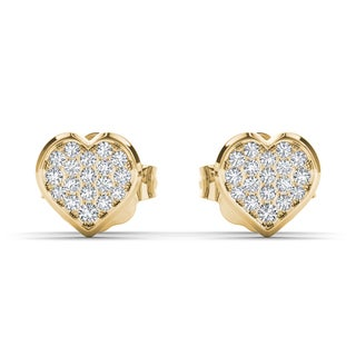De Couer 10k Yellow Gold 1/10ct TDW Diamond Heart Cluster Earring