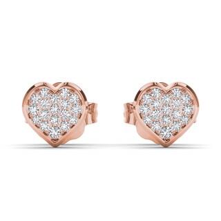 De Couer 10k Rose Gold 1/10ct TDW Diamond Heart Cluster Earring (H-I, I2)