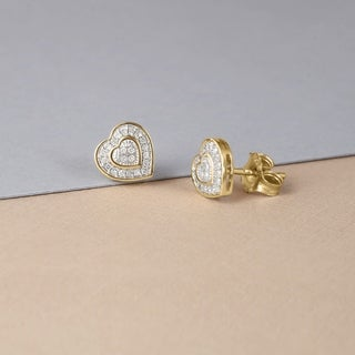 De Couer 10k Yellow Gold 1/20ct TDW Diamond Heart Earrings