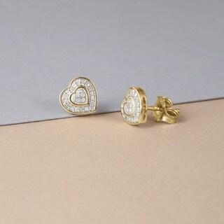 De Couer 10k Yellow Gold 1/20ct TDW Diamond Heart Earrings (H-I, I2)