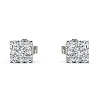 De Couer Sterling Silver 1/2ct TDW Diamond Cluster Earring (H-I, I2)