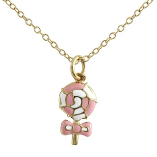 Luxiro Gold Finish Pink and White Enamel Lollipop Bow Pendant Necklace