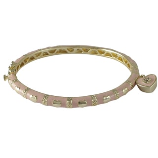 Luxiro Gold Finish Crystals Pink Enamel Heart Charm Bangle Bracelet