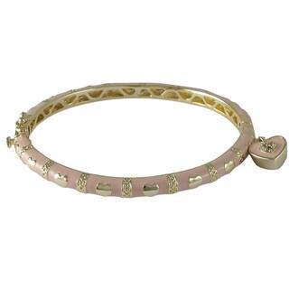 Luxiro Gold Finish Crystals Pink Enamel Heart Charm Bangle Bracelet