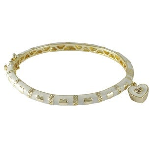 Luxiro Gold Finish Crystal White Enamel Heart Charm Bangle Bracelet