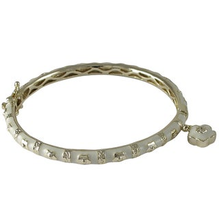 Luxiro Gold Finish Crystal White Enamel Flower Charm Bangle Bracelet
