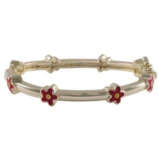 Luxiro Gold Finish Children's Red Enamel Flower Bangle Bracelet