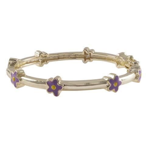 Luxiro Gold Finish Children's Lavender Enamel Flower Bangle Bracelet - Purple