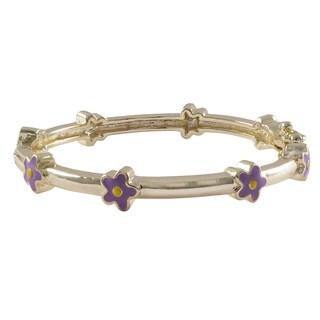 Luxiro Gold Finish Children's Lavender Enamel Flower Bangle Bracelet