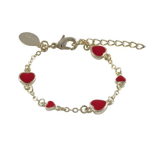 Luxiro Gold Finish Children's Red Enamel Heart Link Bracelet