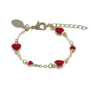 Luxiro Gold Finish Children's Red Enamel Heart Link Bracelet