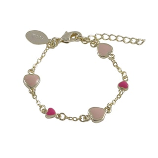 Luxiro Gold Finish Children's Pink Enamel Heart Link Bracelet