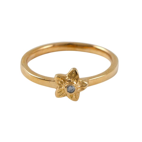 Luxiro Children's Sterling Silver Rose Gold Finish Cubic Zirconia Flower Ring - White. Opens flyout.