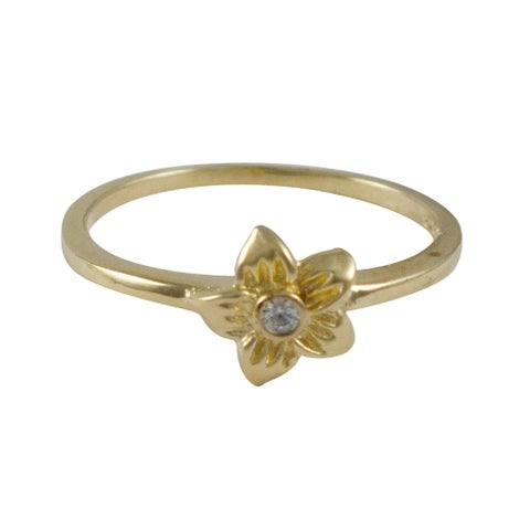 Luxiro Children's Sterling Silver Gold Finish Cubic Zirconia Flower Ring