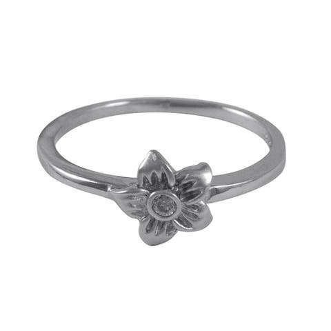 Luxiro Sterling Silver Children's Cubic Zirconia Flower Ring