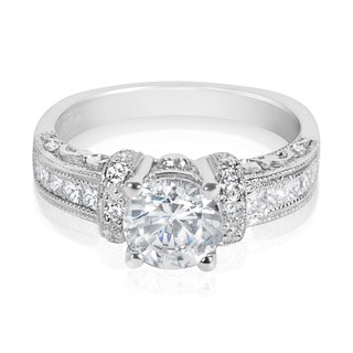 Tacori Platinum 3/8 ct TDW Diamond Engagement Ring Setting with 6.5 mm Round CZ Center (G-H, VS1-VS2)