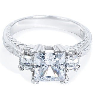 Tacori Platinum HT 2329 Cubic Zirconia and Semi-mount 1/2 ctw Diamond Engagement Ring (G-H, VS1-VS2)