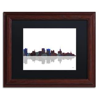 Marlene Watson 'Boston Massachusetts Skyline' Wood Framed Canvas Art
