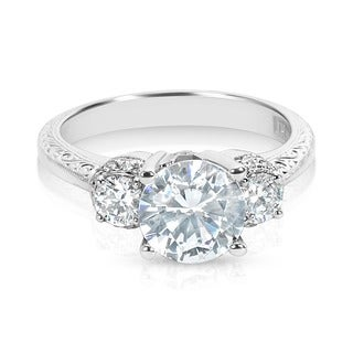 Tacori Platinum 3-stone 1/2 ctw Diamond Round CZ Center Engagement Ring Setting