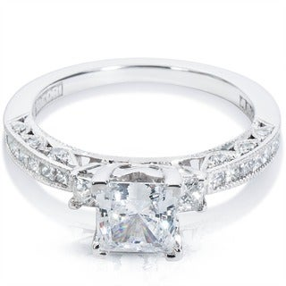 Tacori 18k White Gold Cubic Zirconia and Semi-mount 5/8ctw Diamond Engagement Ring (G-H, VS1-VS2)