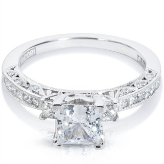 Tacori 18k White Gold 5/8ct TDW Cubic Zirconia and Semi-Mount Diamond Engagement Ring (G-H, VS1-VS2)
