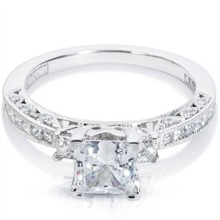 Tacori 18k White Gold 5/8ct TDW Cubic Zirconia and Semi-Mount Diamond Engagement Ring (G-H, VS1-VS2)