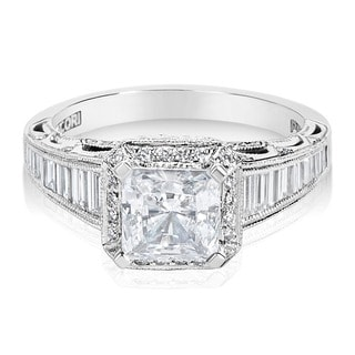Tacori Platinum and 7/8 ct TDW Diamond Engagement Ring Setting with Square Cut CZ Center (G-H, VS1-VS2)