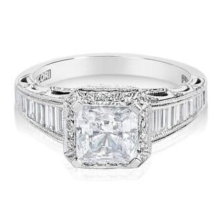 Tacori Platinum 7 8ct TDW Diamond Square Cut CZ Center Engagement Ring