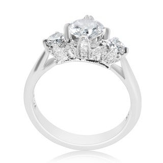 Tacori Platinum Cubic Zirconia and 1/2ctw Diamond Semi-mount Engagement Ring (G-H, VS1-VS2)