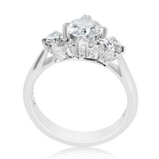 Tacori Platinum Cubic Zirconia and 1/2ctw Diamond Semi-mount Engagement Ring