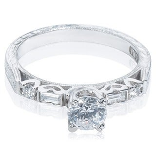 Tacori Platinum 3-stone CZ and Semi-mount 1/6 ctw Diamond Engagement Ring (G-H, VS1-VS2)