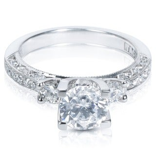 Tacori Platinum HT 2259 Cubic Zirconia and Semi-mount 1/2ctw Diamond Engagement Ring Setting (G-H, VS1-VS2)