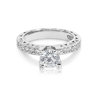 Tacori Platinum and 3/8 ct TDW Diamond Engagement Ring Setting with 6.5 mm Round CZ Center (G-H, VS1-VS2)
