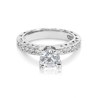 Tacori Platinum Round CZ Center 3/8 ctw Diamond Engagement Ring