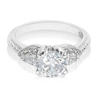 Tacori Platinum HT 2358 3-stone Round-cut Center 3/8 ctw Diamond Engagement Ring