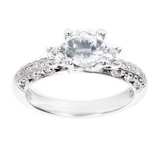Tacori Platinum Cubic Zirconia and Semi-mount 1/3 ctw Diamond Engagement Ring (G-H, VS1-VS2)