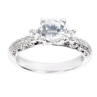 Tacori Platinum Cubic Zirconia and Semi-mount 1/3 ctw Diamond Engagement Ring