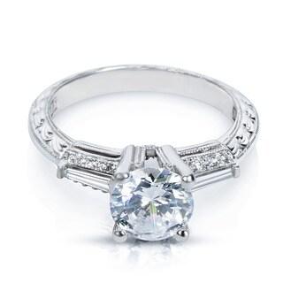 Tacori Platinum Cubic Zirconia and Semi-mount 1/4ct TDW Diamond Engagement Ring