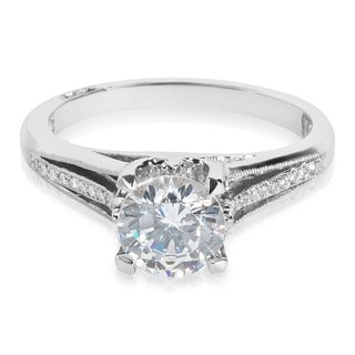 Tacori Platinum Round CZ Center and 1/20 ctw Diamond Engagement Ring Setting (G-H, VS1-VS2)