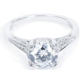 Tacori Platinum 1/6ct TDW Cubic Zirconia and Diamond Semi-Mount Engagement Ring (G-H, VS1-VS2)