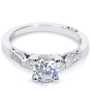 Tacori 18k White Gold 2590 RD Cubic Zirconia and 1/3ctw Diamond Semi-mount Engagement Ring (G-H, VS1-VS2)