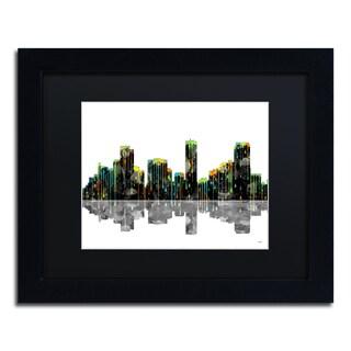 Marlene Watson 'Dallas Texas Skyline' Black Framed Canvas Art