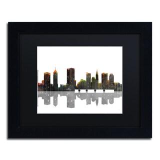 Marlene Watson 'Cleveland Ohio Skyline' Black Framed Canvas Art