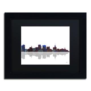 Marlene Watson 'Boston Massachusetts Skyline' Black Framed Canvas Art